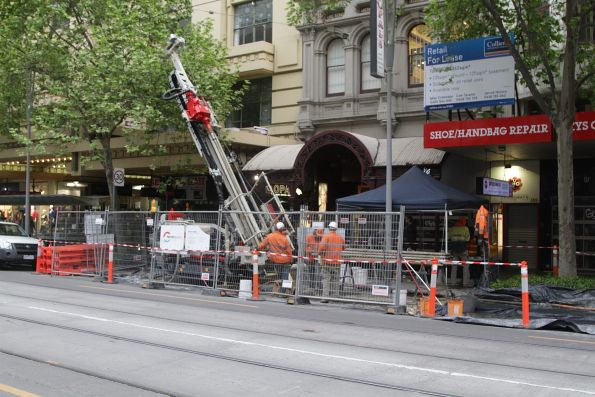 Soil testing works at Swanston and Bourke Street