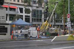 Soil testing works at Swanston and Collins Street