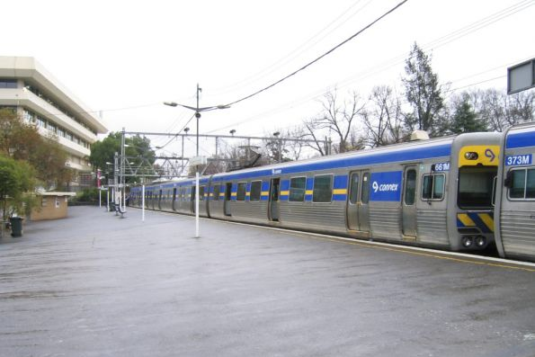 Alstom Comeng at the Flemington Racecourse platform after running a race special