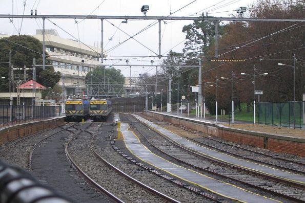 Two Alstom Comengs at Flemington Racecourse after running a race special