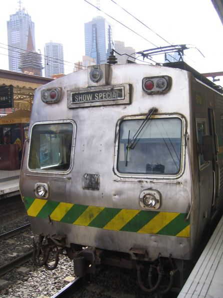 Hitachi at Flinders Street Station prior to departure on a Melbourne Show special