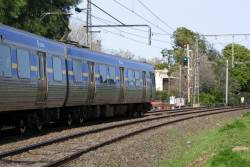 Alstom Comeng on a Showgrounds service near the Broadmeadows line junction