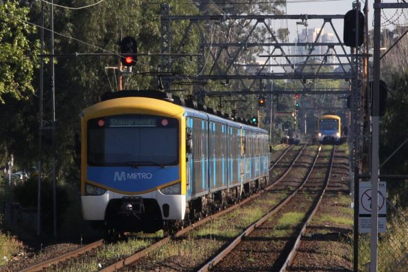 Pair of Siemens trains between Kensington and Newmarket, the foreground set is off to the Showgrounds