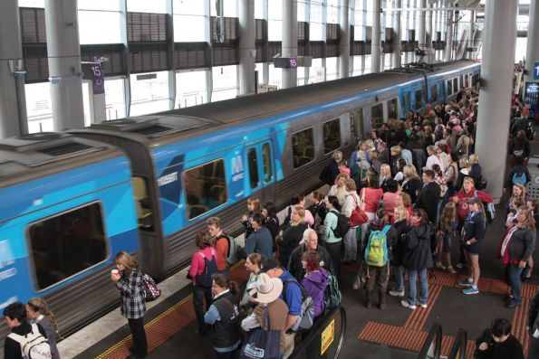 Crowd of horse people waiting for a Showgrounds train at Southern Cross platform 14