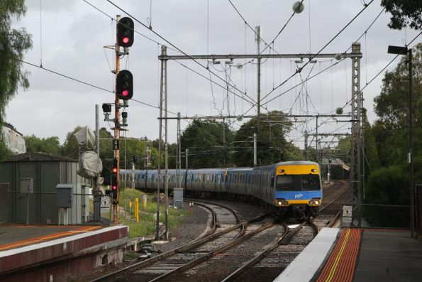Alstom Comeng arrives into Newmarket with a train from Flemington Racecourse