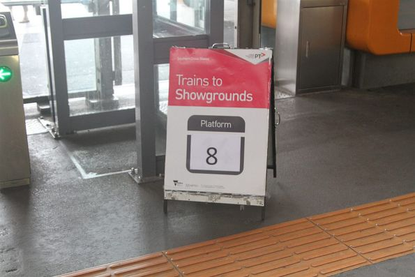 Trains to Showgrounds departing platform 8 at Southern Cross