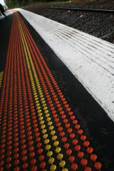 Tactile markings on the platform at Glenferrie