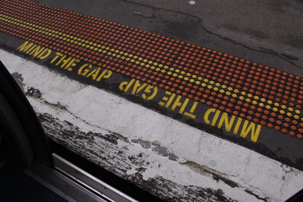 'Mind the gap' painted on platform 2 at Footscray