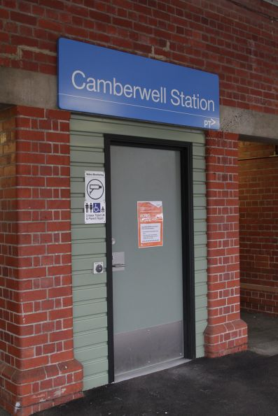 Disabled toilet retrofitted beneath the platform ramp  at Camberwell station