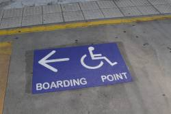 Wheelchair boarding point sigange on the platform at Keilor Plains