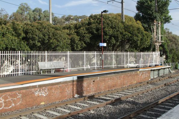 Raised section of platform for loading wheelchairs at the up end of Coburg platform 1