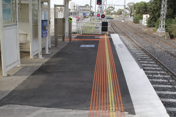 Raised section of platform for loading wheelchairs at the down end of Coburg platform 2