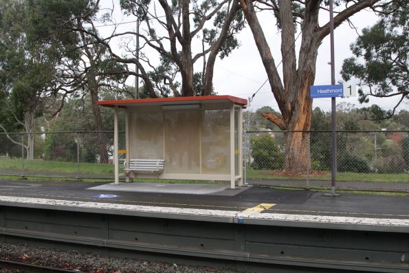 Wheelchair passenger waiting shelter at Heathmont platform 1