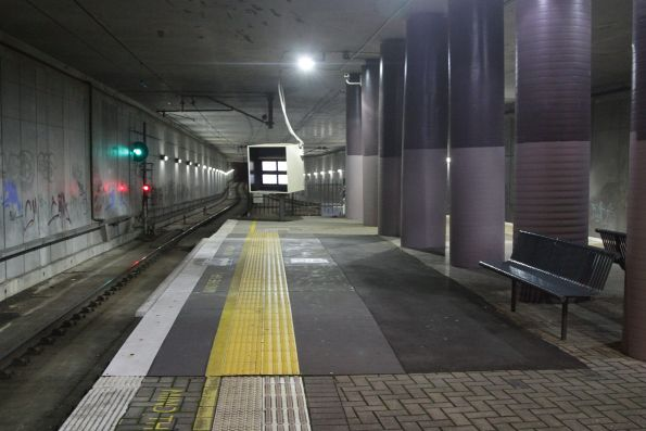 Raised section of platform at the down end of Boronia station