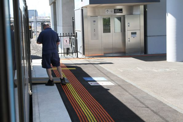 Raised boarding ramp at West Footscray station, but wheelchair ramp still required