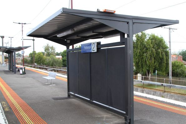 Wheelchair passenger waiting shelter at the up end of Patterson station