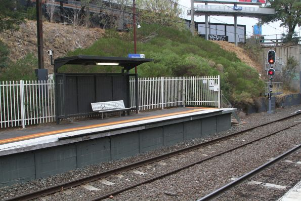 Shelter for waiting wheelchair passengers at the down end of Moorabbin platform 3