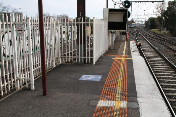 Raised wheelchair ramp at the city end of Newport platform 1