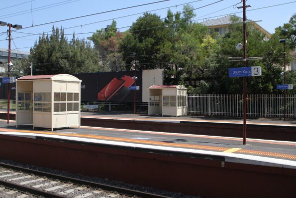 Passenger shelters and raised platform ramps at the up end of South Yarra platform 1 and 3