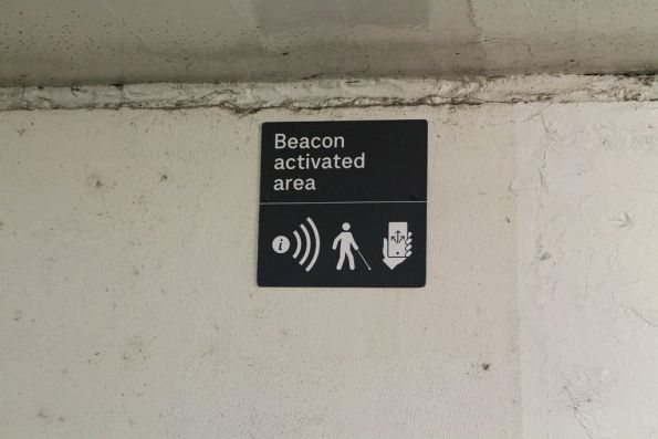 'Beacon activated area' sign in the sports subway at Richmond