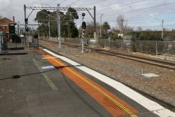 Raised platform hump at the down end of Caulfield platform 2