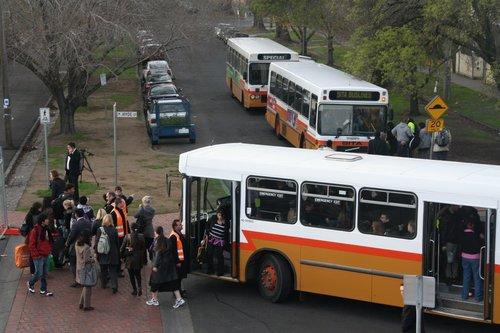 Sita high floor buses run a Connex rail replacement service at Footscray