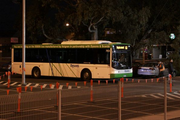 Dysons #703 rego 8026AO at Keon Park on a rail replacement service