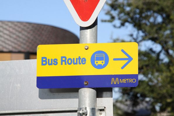 Metro bus route sign, for use by rail replacement services