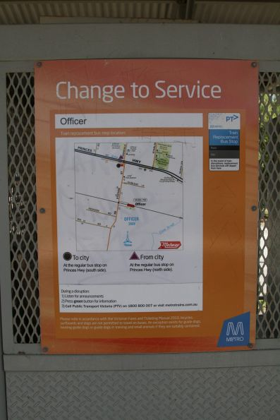 A long way to walk from Officer station to the rail replacement bus stop!