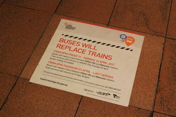 'Buses will replace trains on the Hurstbridge line' notice at Flagstaff station