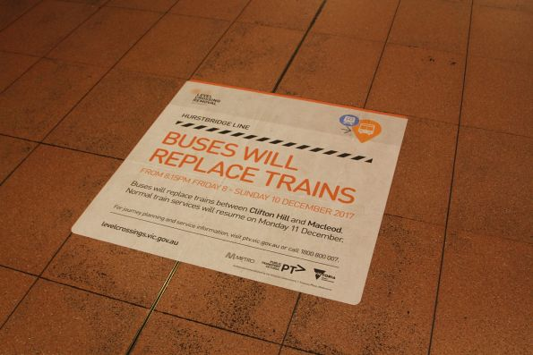 Hurstbridge line 'Buses will replace trains' notice at Flagstaff station