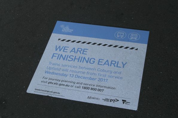'We are finishing early' notice for the Camp Road level crossing removal project