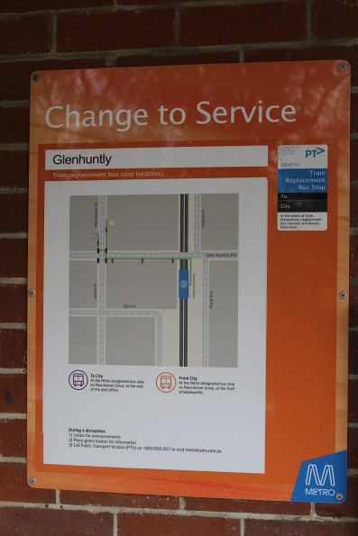 Directions to the train replacement bus stop at Glenhuntly station