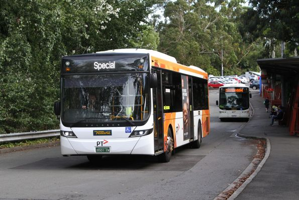 Ventura bus BS01XW departs Belgrave station with a rail replacement service