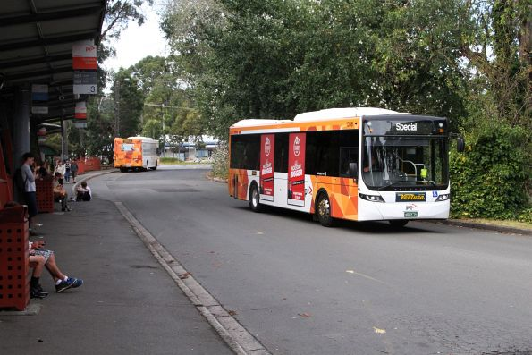 Ventura bus #1306 BS02ZI arrives at Belgrave station with a rail replacement service