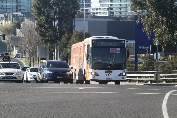 Ventura bus #931 6915AO on an all stations Glen Waverley line rail replacement service along Toorak Road in Kooyong