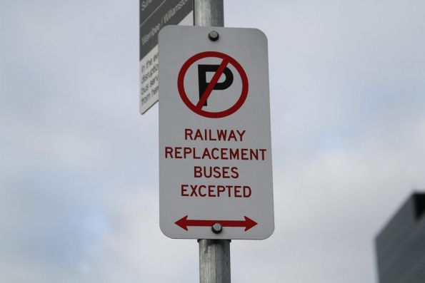'Railway replacement buses excepted' sign outside Footscray station