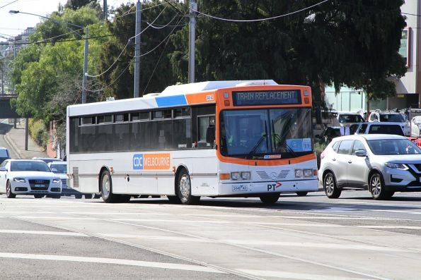 CDC Melbourne bus #43 3448AO on a Craigieburn line rail replacement service at Essendon station