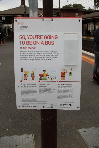 LXRA 'So, you're going to be on a bus' poster at North Melbourne station