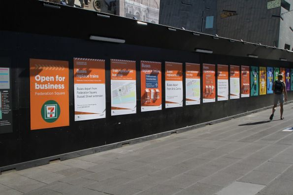 Cranbourne and Pakenham line rail replacement bus posters at Federation Square