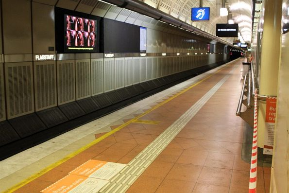 Platform 2 at Flagstaff station closed due to rail replacement buses on the Pakenham, Cranbourne and Frankston lines