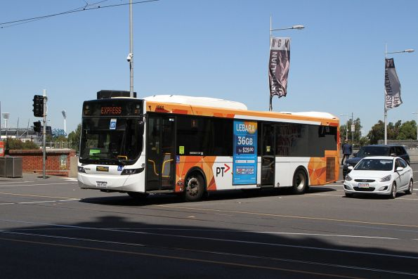 Ventura bus #1066 6615AO departs Federation Square with a Westall rail replacement service