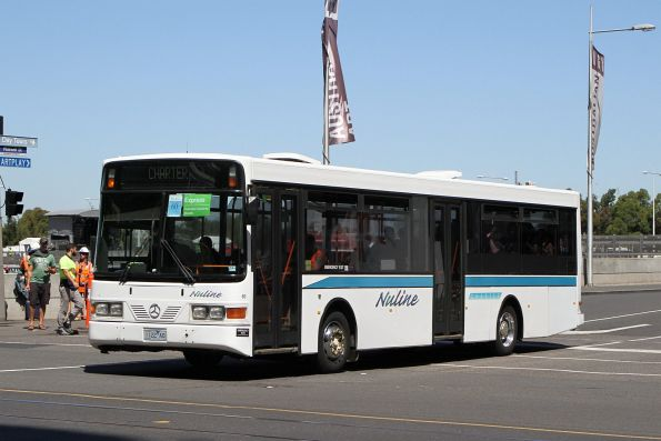 Nuline Charter non-air conditioned bus #80 1122AO departs Federation Square with a Westall rail replacement service
