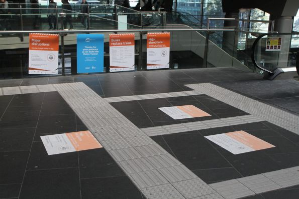 Notice at Southern Cross Station of 'Major disruptions' coming in July 2019