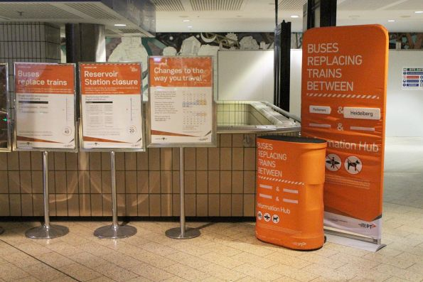 Rail replacement buses between Parliament and Heidelberg notice at Melbourne Central Station
