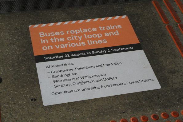 'Buses replace trains in the City Loop and on various lines' notice at North Melbourne