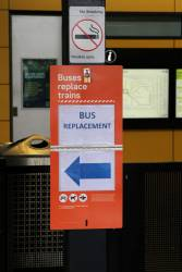 Fold down 'Buses replace trains' sign deployed at Sunshine station