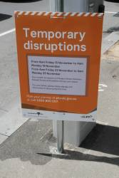 Notice that car parks along Flinders Street between Russell and Exhibition Streets will be closed for the use of rail replacement buses during November
