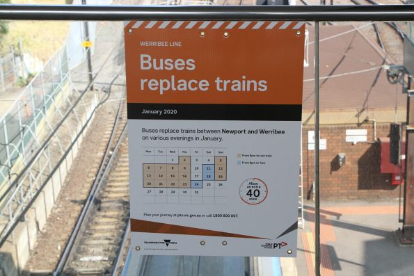 'Buses replace trains on various evenings' poster for the Werribee line