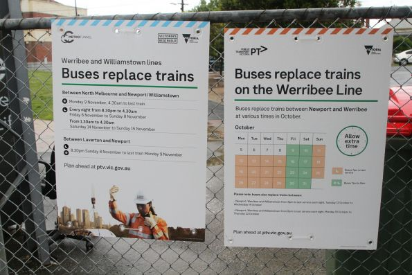 'Buses replace trains on the Werribee Line' signage at Seddon